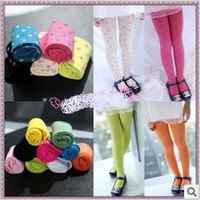 Leggings & Tights Girl Spring / Autumn Kids Girls Leggings Tights Girls Candy Color Leggings Pantyhose Children's Full Foot Leggings Stockings Pantyhose 20pcs lot