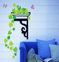 Graphic vinyl PVC Animal Green maple leaf wall Stickers Decal,Elegent Butterfly Wall Paper art for home decorate.20 pieces wholesale 52*80CM