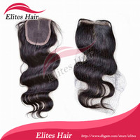 Wholesale Elites Hair Queen hair products Virgin Brazilian Hair Lace Top Closure quot quot body wave quot quot B Natural Black
