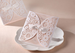 Wholesale Best Sale Popular beige color laser cut wedding invitation card with envelope and seal