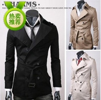 Middle_Length mens trench coat - MENS CASUAL DOUBLE BREASTED TRENCH COAT SLIM FIT Coat Color Size