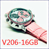 16G AVI 16GB FreeShipping V206 Latest Fashion 1080P IR Night Vision Sports Lady Women Spy Watch Camera DVR, 16GB Watch Hidden Pinhole spy Camera