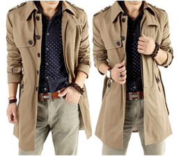 Wholesale Spring and Autumn Men s British style Slim casual trench coats and long sections