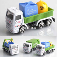 Wholesale Small alloy car models garbage truck car clean car wind up toy christmas gift