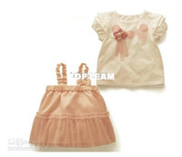 Girl 2T-3T Summer free ship - Summer Baby girls suit Flower short-sleeved t-shirt+ Dress Lovely Baby Girl Clothes 80-9