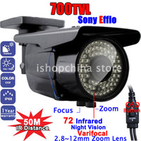 "CCD Indoor 72 IR LEDs 700TVL 1 3"" SONY EFFIO-E Color CCD Night Vision 2.8-12mm Varifocal Lens Security Surveillance Outdoor CCTV Camera w 72 IR LED AT-W7055BM"