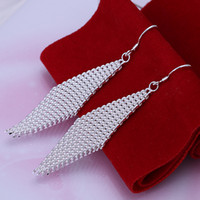 Wholesale 925 Silver Earrings Mesh Rhomb Fashion Lady Jewelry Best Holiday Christmas Gift High Quality Mix Styles Hot Promotion Items C1001