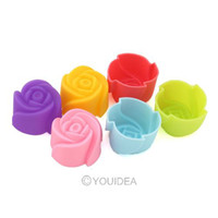 Wholesale 10pcs rose chocolate silicon mold Cake decoration mold Cupcake moulds Jelly pudding