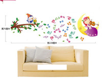 Wholesale 1PCS Happy Bird Music Note Girls DIY WALL DECALS Stickers Home Deco x70cm