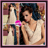 2013 Champagne Beaded Chiffon Prom Dress Sexy V- Neck Flower ...