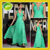 V- Neck Shiny Crystal Beaded Green Chiffon Empire Full Length...