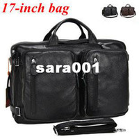 Wholesale EMS genuine leather inch laptop bags large capacity multi purpose computer briefcases business travel bag