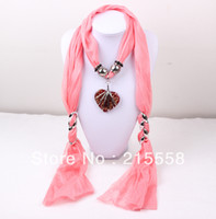 Wholesale 2013 NEW Lampwork Murano Glass Heart Pendant Jewelry Scarf Heart Necklace Scarves ZS4