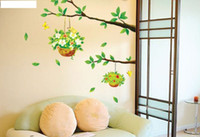basket wallpapers - 1PCS Green Tree Flower Basket Wallpaper DIY WALL DECALS Stickers Home Deco