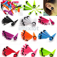 Wholesale Earring Jewelry Mix Colors Ear Expander Stretcher Taper Kit Plug New Body Jewelry BC71