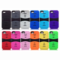 silicon+PC For Apple iPhone For Christmas NEW Stripe Texture design Case Cover for iPhone 5 5G Silicon & hard PC Back Shell Skin dual Protector with Support Stand Function DHL 300pcs