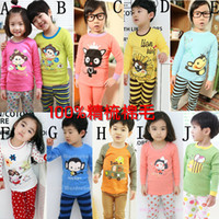 Girl Cotton Blends Under-shirts Children Baby Pajamas suit- Baby Long-sleeve t-shirts pyjamas + pants-kids tshirts sleepwear