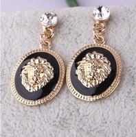 Wholesale New In Hot Sale Fashion Gold Plated Alloy Enamel Lion Head Dangle Ear Stud Earrings pairs lott