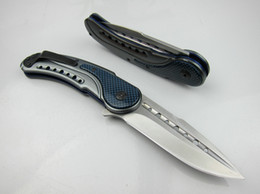 Wholesale Excellent Quality GTC F55 Blue C HRC Pocket knife Favorites knife Hunting Knives Drop Point Blade Steel Carbon Fiber Xmas gift