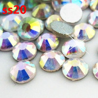 Good Synthetic (lab created) Round Brilliant Cut 1440pcs lot crystal AB ss20 (4.6-4.8mm) crystal glass Rhinestone flatback rhinestones silver foiled free shipping