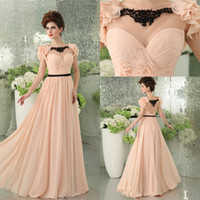 Wholesale Bateau Short Sleeve Pleats Applique A line Lady Pageant dresses evening dress prom dress party gown B