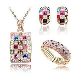 Hot New Free Shipping With Tracking Number Fashion Temperament queen Crystal Necklaces Earrings Bracelet Chains set 743