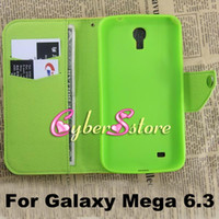 Leather For Samsung  New Candy Hit Contrast Color Folio Wallet Leather TPU inner Credit Card Slots Case Cover Stand For Samsung Galaxy Mega 6.3 i9200 i9208