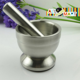 Wholesale Vintage Stainless Steel Mortar and Pestle Garlic Crusher Grinder Food Press Masher Tools Bowl Kitchenware