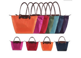 Middle Size New Synthetic Leather Handle Tote Shopping Bag Nylon WaterProof Colorful Handbag