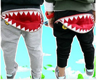 Wholesale 5 New Fashion The Spring Autumn Kid Girls Boys Casual Shark Tooth Zip Cargo Pocket HIPHOP Blue Gray Harem Pants Sweatpants