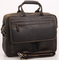 Wholesale Mens Genuine crazy horse Real Leather Antique Style Briefcases Business Cases Attache Messenger Bags Tote New