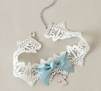 Wholesale Small Fresh White Diamond Cross Blue Bow Lace Necklace Fashion Party Women Wedding Cross Chain Necklaces False Collar Bride Accessories