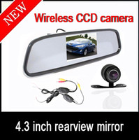 "Cheap 4.3"" Car LCD Mirror Monitor Kit + 2.4G Wireless Mini Waterproof Car Reversing CCD Camera"
