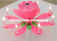 Wholesale hot Non Smoky Lotus Music Flower Candle For Birthday Party Blossom Music Sparkling Flower Candle China Post