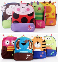 Wholesale Cartoon Animals Backpacks Bookbag Students Schoolbag Kids Boys Girls Satchel Bags Double Shoulder Tapes Canvas Bag