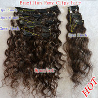 Wholesale 14inch brown deep wave human hair clips on hair extension clips in hair brazilian hair set one full head