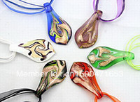 Beaded Necklaces gold dust - New pc colorful Fashion Italian venetian Gold dust Leaf Lampwork murano glass pendant necklace jewelry