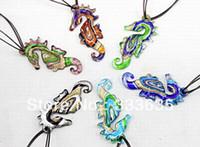 gold dust - 24pcs Fashion Handmade Gold dust sea horse Lampwork murano glass bead Ribbon pendant necklace jewelry