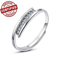Women's Engagement Channel setting Certified 100% Solid Sterling silver 925 18k gold plated CZ Adjustable open women's engagement ring