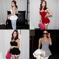 Wholesale Black Red White Grey Newest Fashion Womens Open Back Peplum Double Spaghetti Strap Cotton Sexy Summer Tank Tops Cami D0019