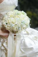 Wholesale 213 Hot SELL Ivory Wedding Bouquet Artificial Rose Flowers Bridal Bouquets Wedding Flowers Color lt lt f6de