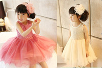 Wholesale Lovely children girls tutu dress kids Children Princess Lace dresses Childrens summer dress girls dress with sequins
