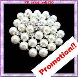 Vintage Style Gorgeous Faux Pearl Flower Brooch Pin Rhinestone Crystal Diamante Bridal Brooch B290