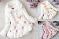 Wholesale girls warm coat hoody kids princess long sleeve winter fleece overcoat thick pink Pearl Lace fur jackets