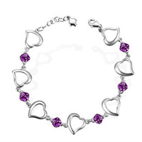Wholesale Jewelry silver jewelry silver s925 amethyst Women bracelet love birthday purple diamont link chain ladies Elegant