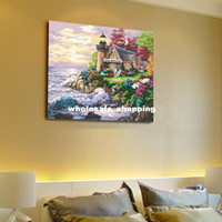 Wholesale HOT DIY Digital oil painting landscape decorative painting cm gift painting livingroom bedroom wall pic