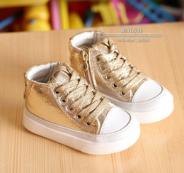Wholesale Baby Boy Girls Glitter High top Sneakers Gold Silvery Peach Blossom Toddler Sparkly Shoes First Walker Casual Shoes Infant Board Shoes