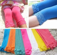 Wholesale Girl Velvet Legging Kids Candy Color Lace Leggings Girls Fashion Summer Tights Cute Dress Socks colors for choose