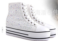 Wholesale The new platform of canvas shoes with thick bottom fill color stone high help ladies fashion shoes