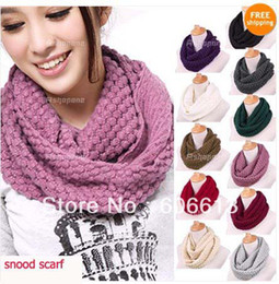 High Quality Women Warm Knit Neck Circle Wool Cowl Snood Long Scarf,50pcs lot, Free Shipping By EMS